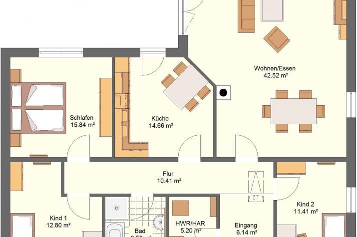 Bungalow 40.11 Individuell planen & bauen - Bungalow - Grundriss Innen