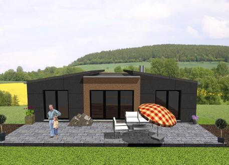 Holzbungalow Futuristischer Bungalow mit Einliegerwohnung