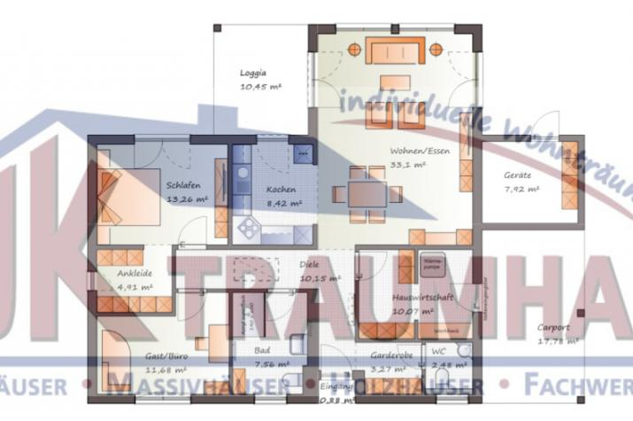 Winkelbungalow mit integriertem Carport - www.jk-traumhaus.de -