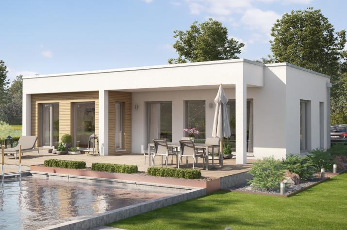 AMBIENCE 77 V4 - AMBIENCE 77 V4 – Moderner Flachdach-Bungalow mit Übereck-Panorama-Erker und Gartenlounge