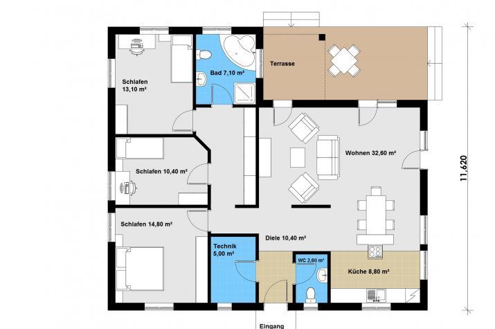 Ausbauhaus 132 - Energieklasse A+ -  Kaufpreis 47.860.-- € inkl. 19% MwSt.  - Grundriss Erdgeschoss