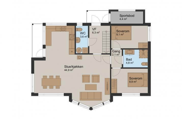 Ausbauhaus 148 - Energieklasse A+ - Kaufpreis 96.200.-- inkl. MwSt. - Grundriss
