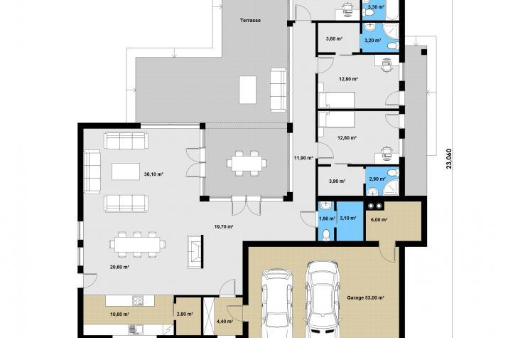 Ausbauhaus 269 -  Energieklasse A+ - Kaufpreis 84.860.-- € inkl. MwSt. - Grundriss Erdgeschoss