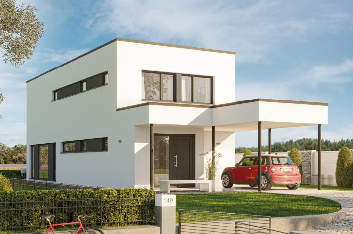 BALANCE 145 V3 - Einfamilienhaus mit großem, offenen Koch-Ess-Wohnbereich und Carport