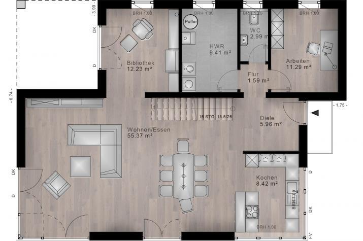BAUHAUS NIEDERSAYN 10-010 - Grundriss Erdgeschoss