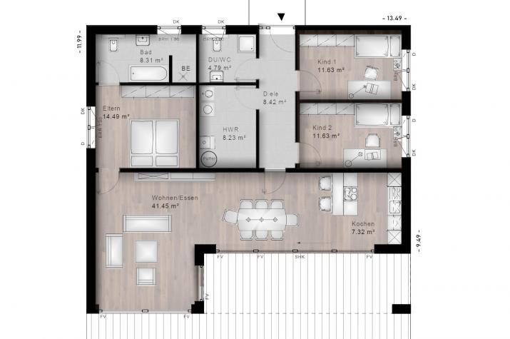 BUNGALOW MARIENRACHDORF 20-032 - Grundriss Erdgeschoss