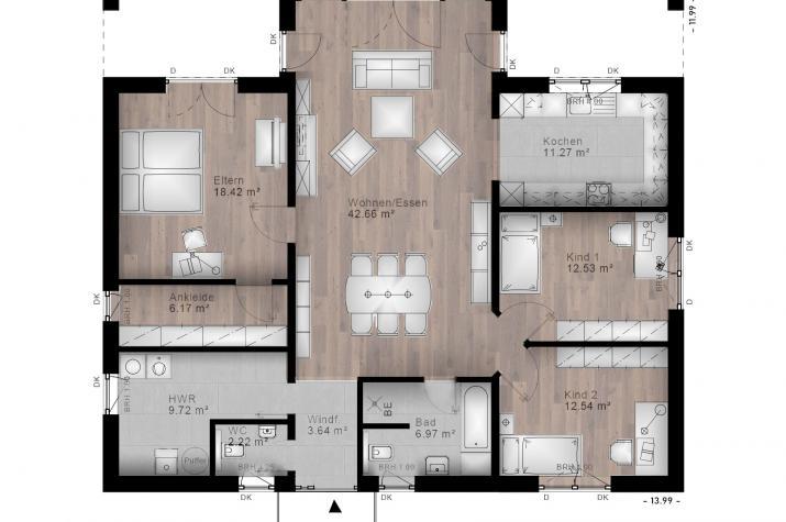 BUNGALOW NAUORT 20-018 - Grundriss Erdgeschoss