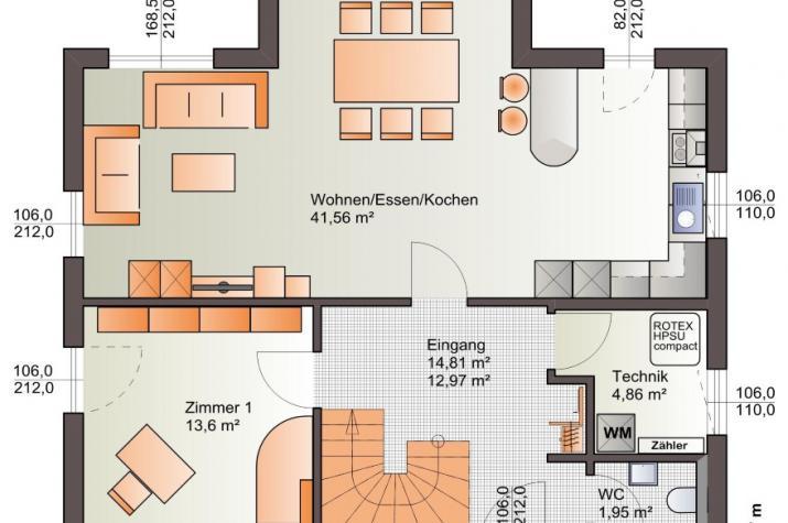 Bärenhaus Einfamilienhaus Esprit 149 - Esprit 149 Erdgeschoss