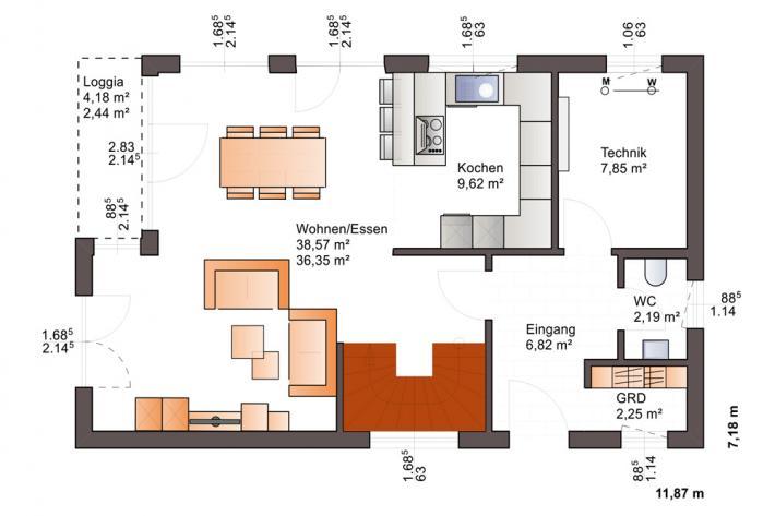 Bärenhaus Stadtvilla Eos 137 - Eos 137 Erdgeschoss