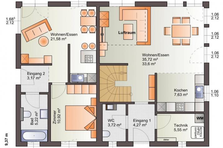 Bärenhaus Zweifamilienhaus Esprit 184 - Esprit 184 Erdgeschoss