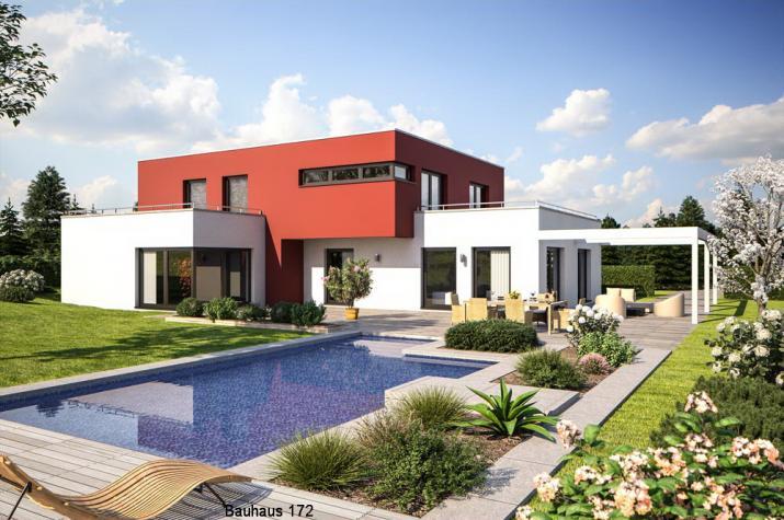 Bauhausvilla - Flachdach - bis zu 2 Dachterrassen - schlüsselfertig - Bauhausvilla 172