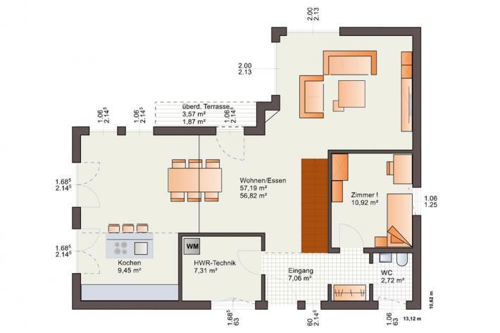 Bauhausvilla - Flachdach - bis zu 2 Dachterrassen - schlüsselfertig - Grundrissvorschlag EG