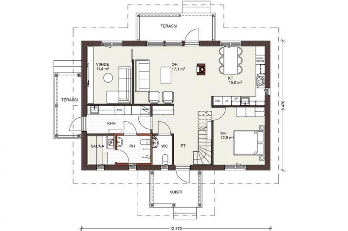 Bausatzhaus 132 - Kaufpreis 93.810.-- € inkl. 19% MwSt. - Erdgeschoss