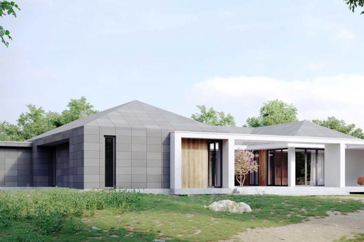Bungalow 341  mit einem Atrium - Außenansicht Terrasse
