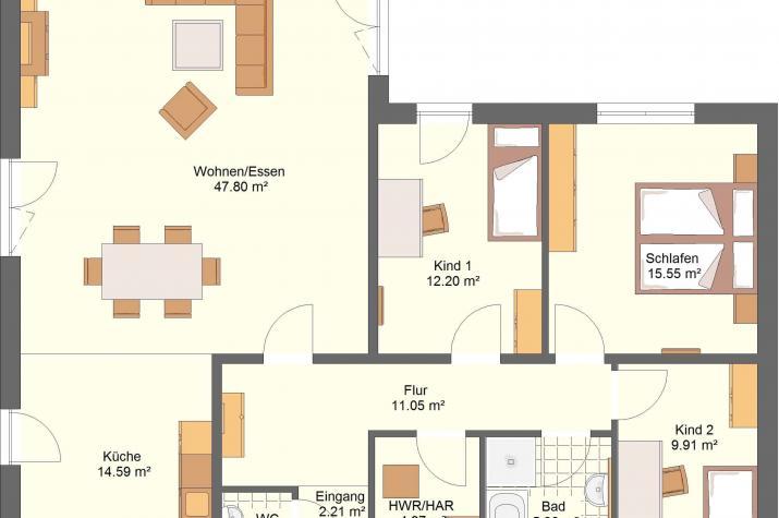 Bungalow 40.12 - Grundriss Innen