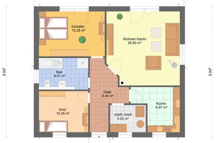 Bungalow Minni  84 qm Wohnfläche - Bungalow Minni 84 qm Grundriss Erdgeschoss