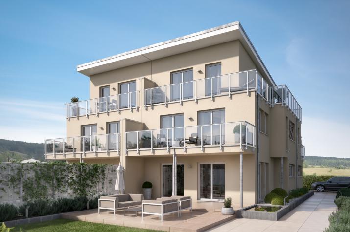 CELEBRATION 139 V5 XL - Konzept-Doppelhaus mit Übereck-Panoramaerker und großen Balkonen