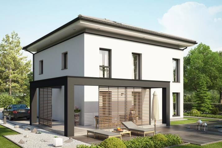 CONCEPT-M 193 Potsdam - Stadtvilla mit schwebendem Walmdach, Terrassen-Pergola und Übereckerker mit Balkon