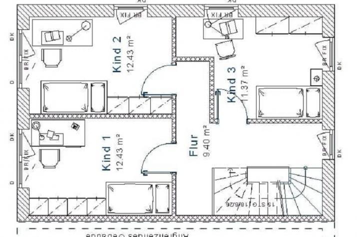 Doppelhaus Klassik 30.41 - Skizzenansicht Obergeschoss