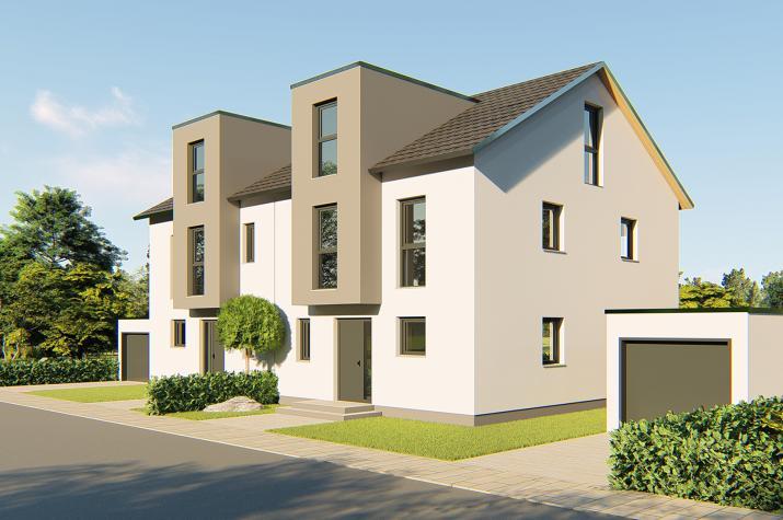 Doppelhaus Klein-Auheim - Doppelhaus mit Flachdachgaube