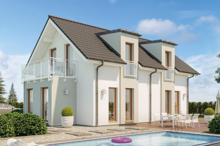 EDITION 120 V2 - Helles Einfamilienhaus mit zwei Pultdach-Zwerchgiebeln, Erker und Balkon