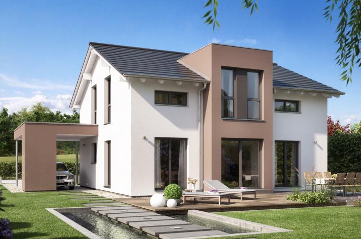 EVOLUTION 152 V5 - Schickes Einfamilienhaus mit Flachdach-Querhaus und Design-Carport