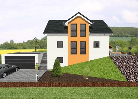 Einfamilienhaus mit Zwerchgiebel für Hanglage- www.jk-traumhaus.de