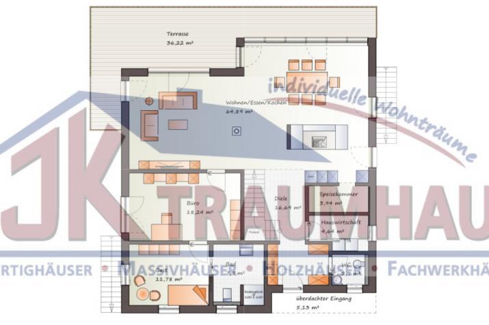 Einfamilienhaus mit zwei Einliegerwohnungen- www.jk-traumhaus.de - Grundriss EG