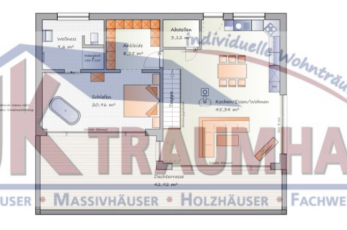 Flachdach-Bungalow für Hanglage - www.jk-traumhaus.de - Grundriss EG
