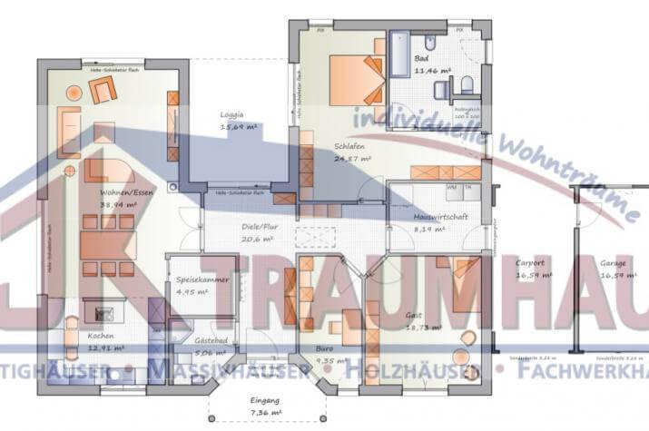Großzügiger Bungalow in U-Form mit Loggia - www.jk-traumhaus.de - Grundriss EG