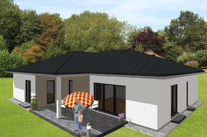 Großzügiger Winkelbungalow mit integrierter Garage - www.jk-traumhaus.de -