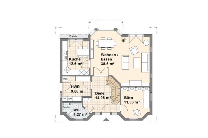 Haus Worpswede - Grundriss Erdgeschoss