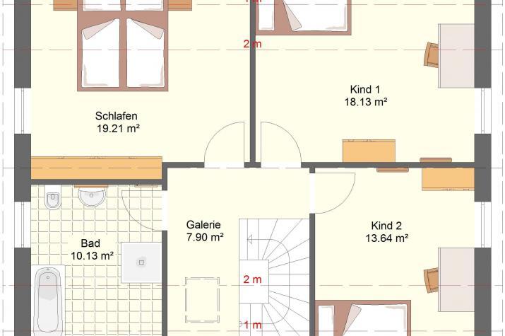 Klassik 11.10 - Skizze Obergeschoss