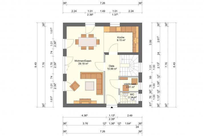 Klassik 11.26 - Skizze Erdgeschoss