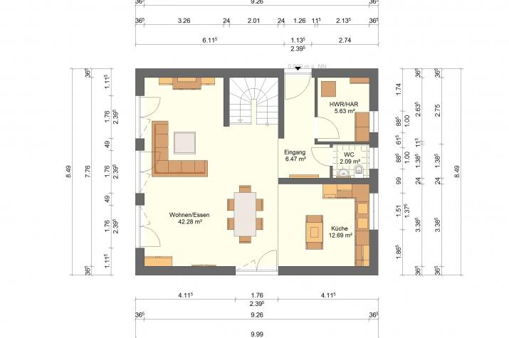 Klassik 11.35 - Skizze Erdgeschoss