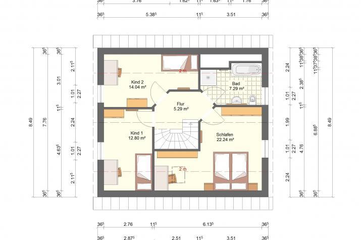Klassik 11.39 - Skizze Dachgeschoss