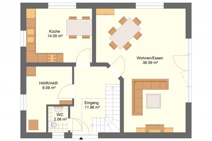 Klassik 11.43 - Skizze Erdgeschoss