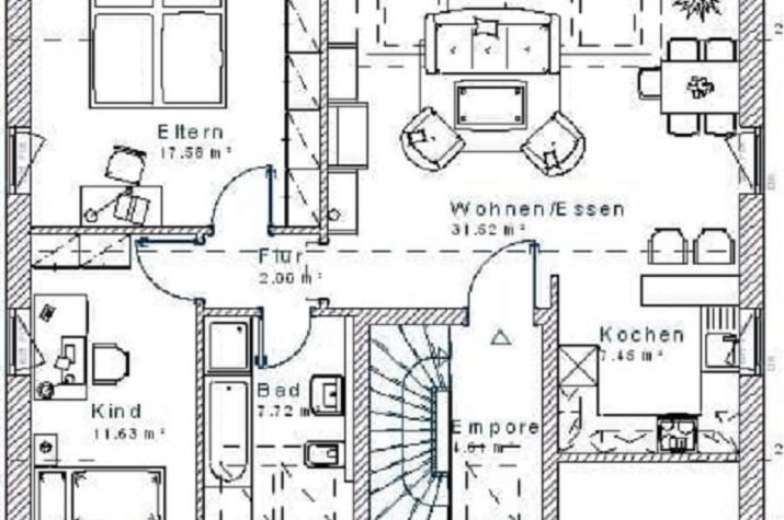 Klassik 13.49 - Skizze Innenansicht Erdgeschoss