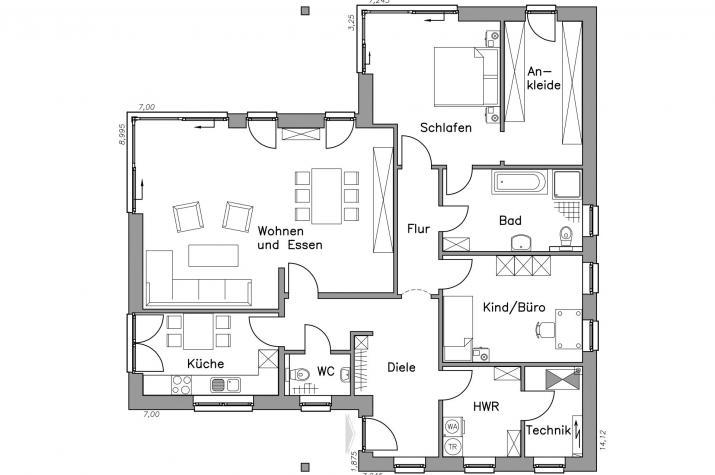 Massiv-Hausidee BL 135 M - Grundriss BL 135 M