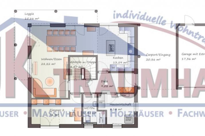 Mediterrane Stadtvilla mit  Garage/Carport-Anlage  - www.jk-traumhaus.de - Grundriss EG