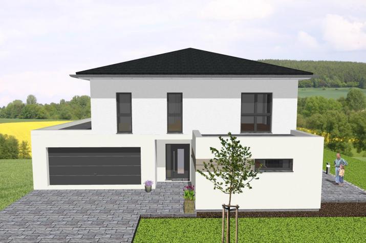 Moderne Stadtvilla mit integrierter Garage - www.jk-traumhaus.de -