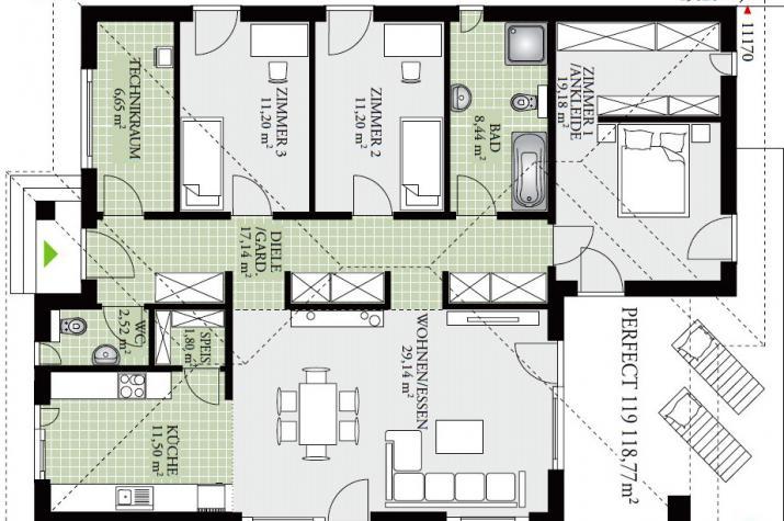 PERFECT120.1 - Effizienz  pur - Erdwärme -Zukunft schon heute - EG - mit 4 Zimmern, gestaltbar, aktuell neuer Grundriss