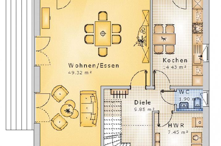 SATTELDACH HAUS DERNBACH 80-005 - Grundriss Erdgeschoss