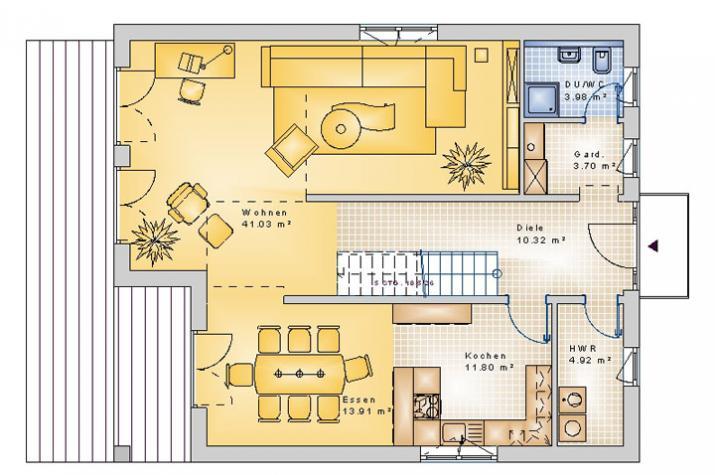 SATTELDACH HAUS EWIGHAUSEN 90-028 - Grundriss Erdgeschoss