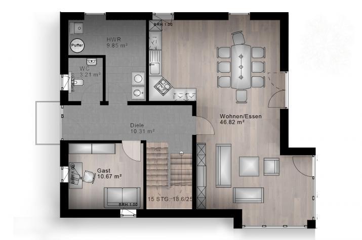 SATTELDACH HAUS HARTENFELS 70-033 - Grundriss Erdgeschoss