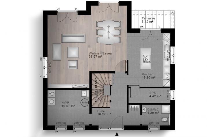 SATTELDACH HAUS HEIMBORN 80-010 - Grundriss Erdgeschoss