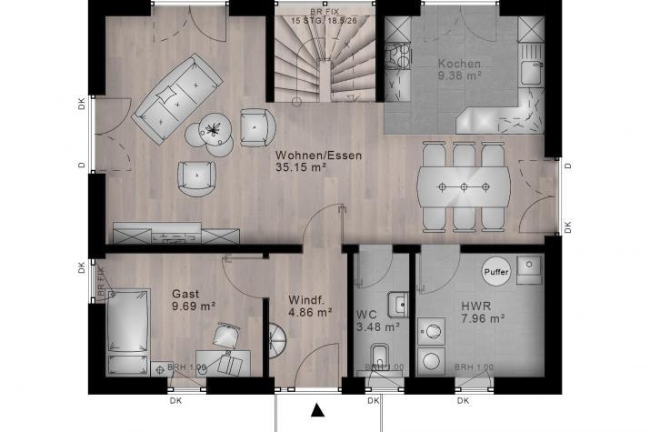 SATTELDACH HAUS OBERLAHR 70-035 - Grundriss Erdgeschoss