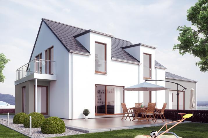 SOLUTION 183 V2 - Schickes Mehrgenerationenhaus mit zwei Pultdach-Zwerchgiebeln, Erker und Balkon