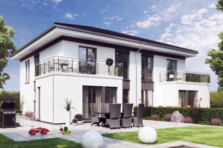 SOLUTION 242 V6 - Elegantes Zweifamilienhaus mit Übereck-Erker mit Balkon