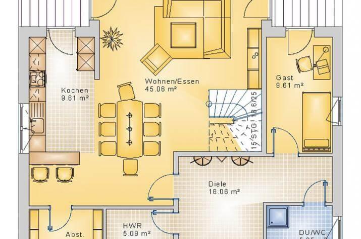STADTVILLA HAUSEN 40-011 - Grundriss Erdgeschoss
